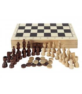 Estuche de Ajedrez, Damas y Backgammon en madera